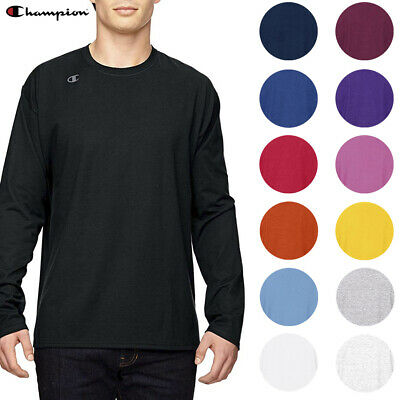 Champion Men's T390 Jersey Crew Neck Long Sleeve Logo T-Shirt UV Protection