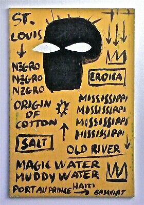 BASQUIAT -- A SIGNED 1980s EXPRESSIONIST ORIGINAL ACRYLIC PAINTING BLACK HISTORY