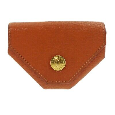 Auth HERMES Le Karan Yuit Coin Purse Orange Leather F in Square (2002) #f39019