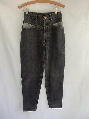 """RETRO CORFU ladies size 29"""" black high waisted Mum Jeans 80's button up tapered"""