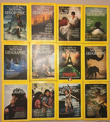 National Geographic 1989 Complete Set Lot: All 12 Issues and 6 Map Inserts