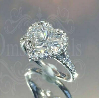 Polished Heart White Sapphire 925 Silver Ring Wedding Engagement Jewelry Sz 6-10