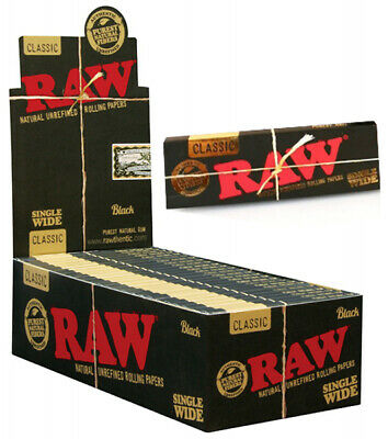 50x RAW Black Single Wide Natural Hemp Unrefined Rolling Papers - FULL BOX