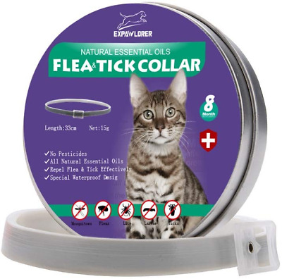 EXPAWLORER Cat Flea Collar with Natural Essential Oils for 8 Months Protection,
