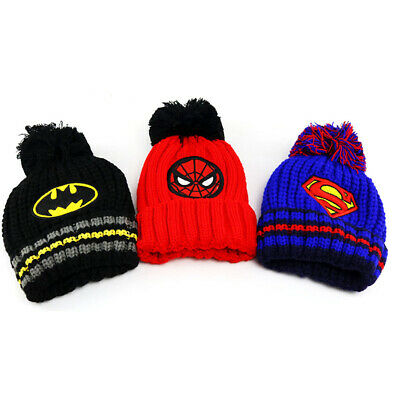 Kids Batman Superman Winter Hat Toddler Boys Fleece Warm Beanies Pompom Ski Caps