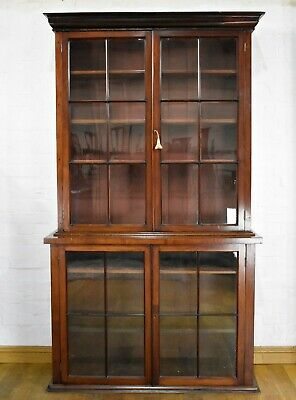 Antique Victorian large double door glazed bookcase - display cabinet