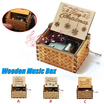 Retro Wooden Music Box Hand Crank Engraved Musical Toys Kids Birthday Xmas Gift