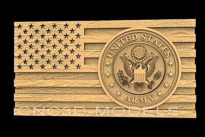 3D STL Models for CNC Router Carving Artcam Aspire Flag USA Eagle Army D652