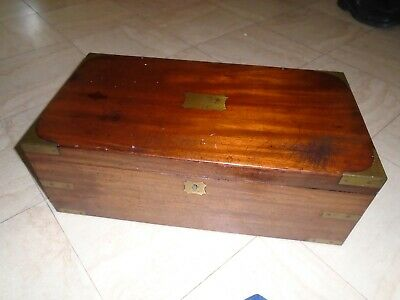 Antique Large Brass Bound Mahogany Writing Slope Desk Top Wooden Storage Box