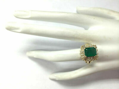 4.00Ct Emerald Cut Green Emerald Cocktail Engagement Ring 14K Yellow Gold Finish