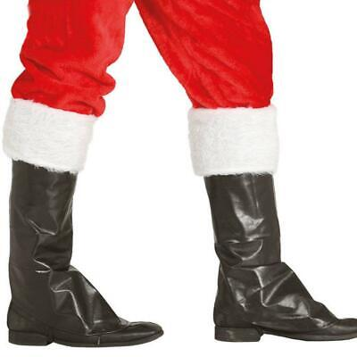 Santa Father Christmas Fur Topped Boot Covers Fancy Dress Item