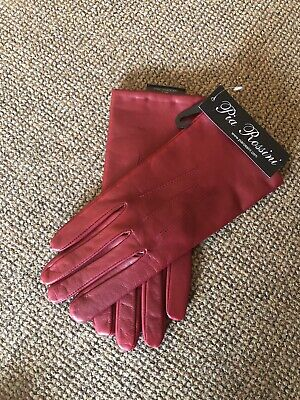 Ladies Soft Leather Gloves Pia Rossini Size Large Rubino Red NEW