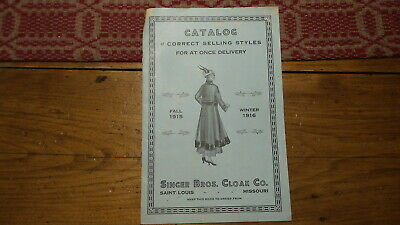 Antique 1915-16 Singer Bros. CLOAK CO. CATALOG Fall, Winter, Coats, Ladies,Youth