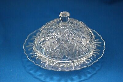 Eapg Anchor Hocking Pineapple Round Prescut Butter Dish