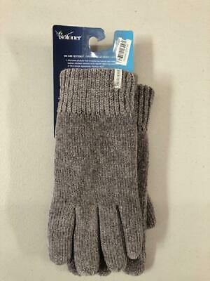 Isotoner Signature Grey Chenille Knit Women's Gloves, Palm Grip - One Size