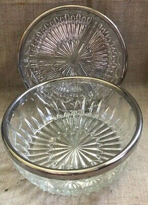 Vintage Clear Pressed Glass Serving Bowls with Silver Plated/Chrome Rim Set of 2