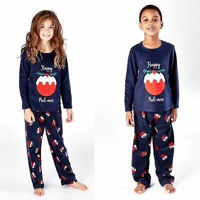 Kids Happy Christmas Fleece Pyjamas Pyjama PJs Boys/Girls Navy Age 5-13 Years