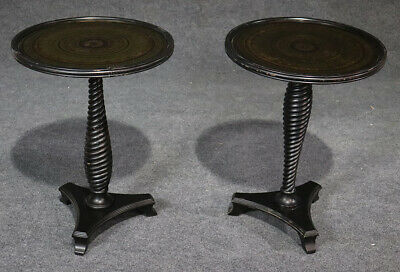 Pair Eglimose French Turned Mahogany End Occassional Lamp Tables