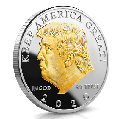 2020 President Donald Trump Gold & Silver Plated EAGLE Commemorative Coin US QE