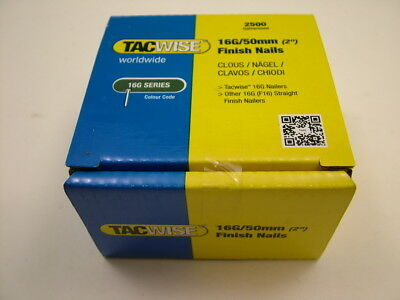 2nd fix collated straight brad nails Tacwise brand 16 gauge 50mm box of 2500
