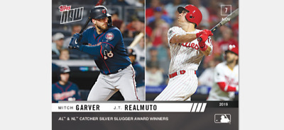 2019 Topps Now Silver Slugger Winner Card Mitch Garver Jt Realmuto #Os-36