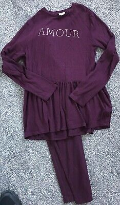 Girls River Island Purple Lounge Outfit Set 9-10 Years Leggings Long Sleeved Top