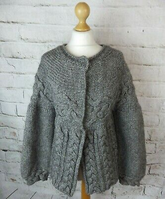 Vintage hand chunky cable knit alpaca blend grey cardigan cosy soft S 10 12