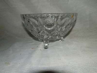Vintage, Thumbprint & Star, Crystal, Sawtooth Edge, Three Footed, Candy Dish