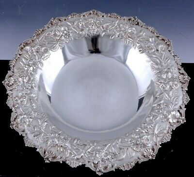 Large 1925 Samuel Kirk & Son Repousse Sterling Silver Entree Serving Tray Bowl 1