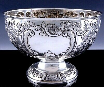 FINE c1908 LONDON MAPPIN & WEBB STERLING SILVER REPOUSSE PUNCH SERVING BOWL
