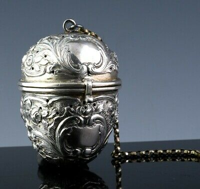 Thick & Fine Quality Geman 800 Silver Repousse Egg Form Tea Teacup Strainer Ball