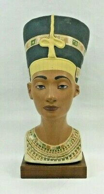 "Queen Nefertiti Bust Egyptian Statue Royal Sculpture Ruler of the Nile 12"" Tall"