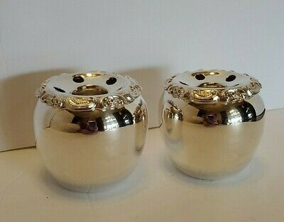 WALLACE BAROQUE~ Pair of Silverplate Apple Shaped Candle & Flower Holders