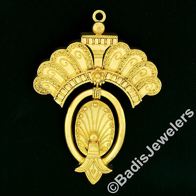 Antique Victorian 18k Gold Etruscan Revival Bead Twisted Wire Pin Brooch Pendant