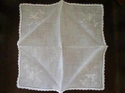 Vintage Handmade White Lace And Embroidered Floral Handkerchief