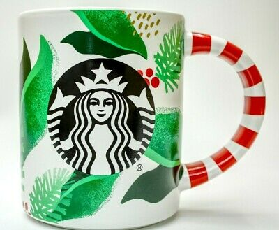 Starbucks Christmas Mug 2019 Holiday Siren Red Striped Handle  Limited Edition