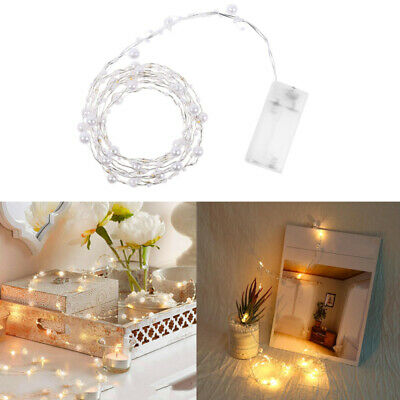 Battery Operated Mini Pearl LED Copper Wire String Fairy 1.8M 20 LEDs