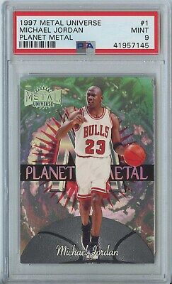 Michael Jordan 1997 98 Fleer metal universe planet metal #1 Chicago Bulls PSA 9