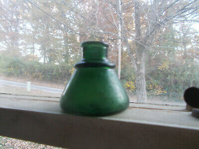 DEEP FOREST GREEN 1880s DUG CONE INK BOTTLE HAND BLOWN SCARCE COLOR!