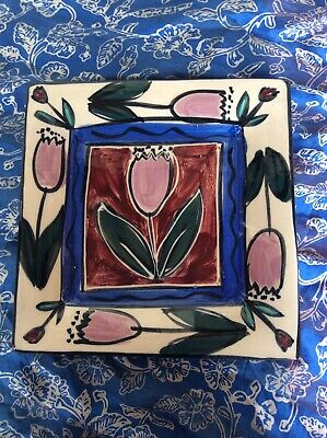 Tulip Theme Ceramic Vintage Plate By Mary-Lou Pittard. Red And Blue Theme.