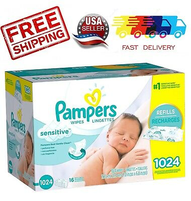 Genuine-PAMPERS Sensitive Baby Wipes 1024ct. Brand New - Fast Shipping
