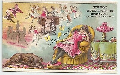 Antique New Home Sewing Machine A Fairy Dream Victorian Girl & Dog Trade Card