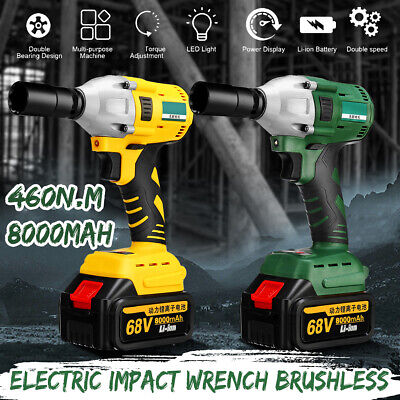 460N.m 1/2''Electric Brushless Cordless Impact Wrench Drill +2 8000mAh