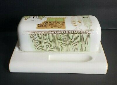 Vintage Rare White Ceramic Butter Dish With Lid