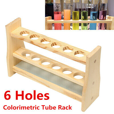 6 Holes Test Tube Rack Testing Tubes Clip Holder Stand Dropper Wood Lab  XMAS