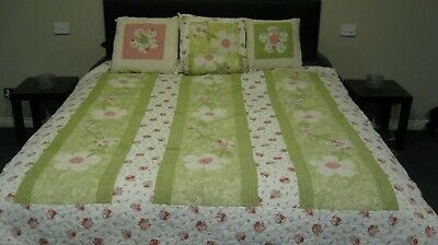 Chenille quilted Queen quilt topper matching cushions neck roll