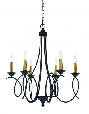 La Courbe 6 Light Black with Antique Brass Chandelier