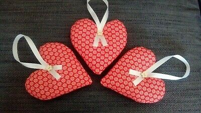 Handmade Red & White Ditsy Floral Hanging Hearts French Vintage Style Pack of 3