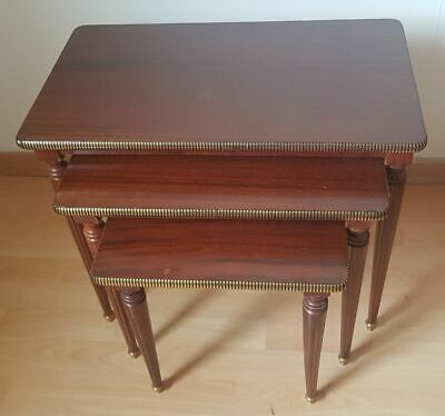 Suite 3 Tables Pull-Out Antique Wooden and Veneer