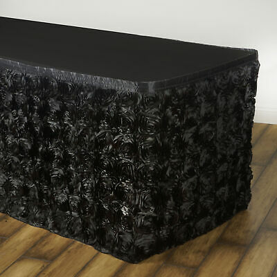 14' Black SATIN ROSES TABLE SKIRT Tradeshow Wedding Party Catering Supplies